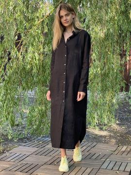 Фото товара: лляна сукня - сорочка чорна. Вид 2.