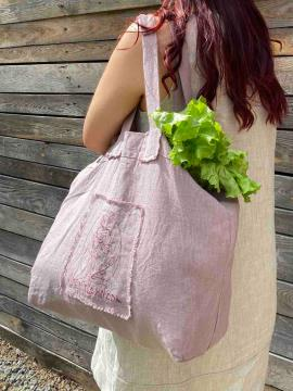 Фото товара: лляна сумка пудрово-рожева. Вид 1.