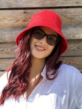 Фото товара: лляна жіноча панама червона. Вид 1.