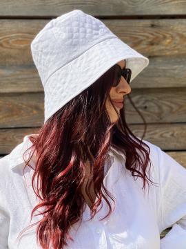 Фото товара: лляна жіноча панама біла. Вид 2.