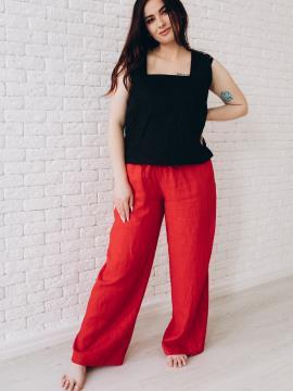 Фото товара: лляні штани Палаццо червоні. Вид 1.