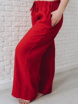 Фото товара: лляні штани Палаццо червоні. Вид 2.