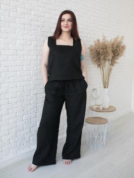 Фото товара: лляні штани Палаццо чорні. Вид 1.