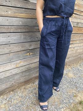 Фото товара: лляні штани Палаццо темно-сині. Вид 2.