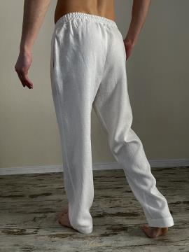 Фото товара: чоловічі лляні штани білі. Вид 2.