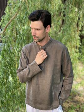 Фото товара: лляна чоловіча сорочка сіра. Вид 2.