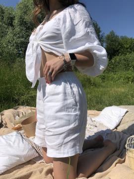 Фото товара: лляні шорти білі. Вид 1.