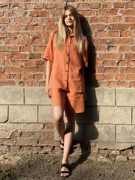 Фото товара: лляні шорти тіффані помаранчеві. Вид 1.