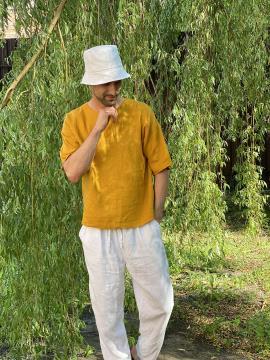 Фото товара: лляна панама унісекс біла. Вид 2.