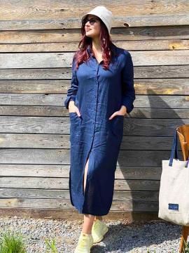 Фото товара: лляна сукня - сорочка темно-синя. Вид 1.