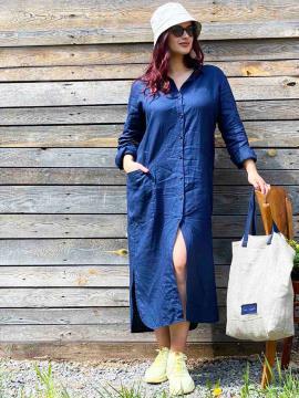 Фото товара: лляна сукня - сорочка темно-синя. Вид 2.