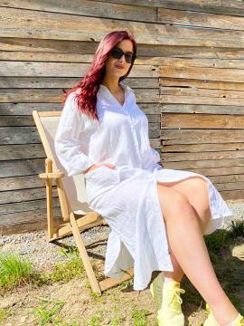 Фото товара: лляна сукня - сорочка біла. Вид 2.