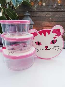 Модный ланч-бокс кошка 4 в 1 розовый. Изображение товара, вид 1