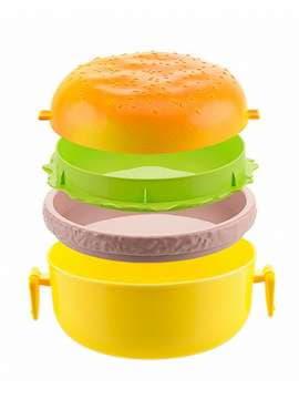 Брендовый ланч-бокс гамбургер желтый. Изображение товара, вид 2