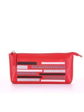 Стильная косметичка с вышивкой, модель 506 красный. Изображение товара, вид спереди.