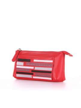 Стильная косметичка с вышивкой, модель 506 красный. Изображение товара, вид сбоку.