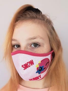 Фото товара: детская маска двухслойная 005 розовый. Вид 2.