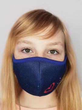 Фото товара: дитяча маска двошарова 007 синій. Вид 1.