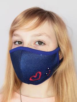 Фото товара: дитяча маска двошарова 007 синій. Вид 2.