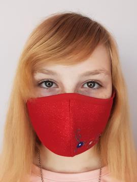 Фото товара: детская маска двухслойная 008 красный. Вид 1.