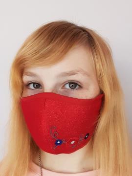 Фото товара: детская маска двухслойная 008 красный. Вид 2.