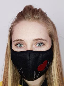 Фото товара: маска двухслойная 015 черный. Вид 1.