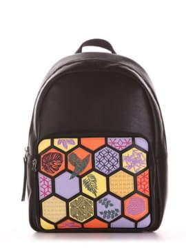 Брендовый рюкзак с вышивкой, модель 191531 черный. Изображение товара, вид сбоку.