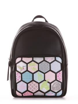 Школьный рюкзак с вышивкой, модель 191533 черный. Изображение товара, вид спереди.