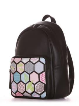 Школьный рюкзак с вышивкой, модель 191533 черный. Изображение товара, вид сбоку.