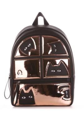 Шкільний рюкзак з вышивкою, модель 191541 чорний. Зображення товару, вид збоку.