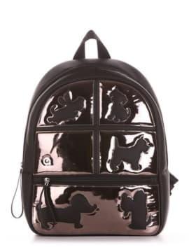 Модний рюкзак з вышивкою, модель 191542 чорний. Зображення товару, вид збоку.