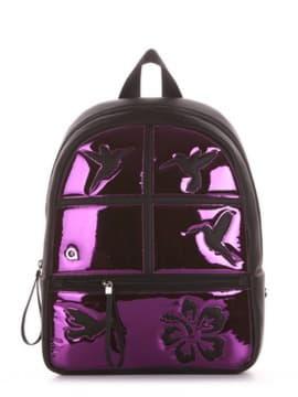 Жіночий рюкзак з вышивкою, модель 191543 чорний. Зображення товару, вид збоку.