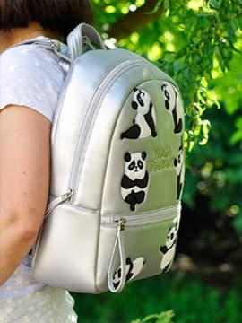 Шкільний рюкзак з вышивкою, модель 191545 срібло. Зображення товару, вид спереду.