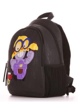 Шкільний рюкзак з вышивкою, модель 191631 чорний. Зображення товару, вид збоку.