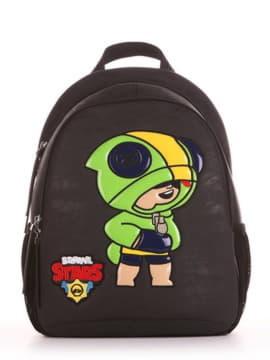 Шкільний рюкзак з вышивкою, модель 191632 чорний. Зображення товару, вид спереду.