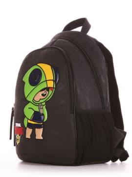 Шкільний рюкзак з вышивкою, модель 191632 чорний. Зображення товару, вид збоку.