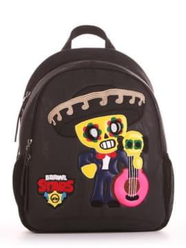 Шкільний рюкзак з вышивкою, модель 191633 чорний. Зображення товару, вид спереду.