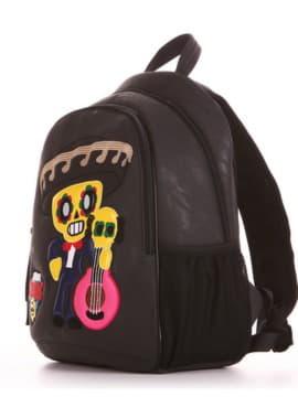 Школьный рюкзак с вышивкой, модель 191633 черный. Изображение товара, вид сбоку.