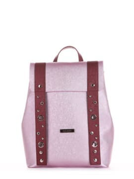 Женский рюкзак, модель 191672 розовый-перламутр. Изображение товара, вид спереди.