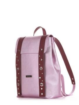 Женский рюкзак, модель 191672 розовый-перламутр. Изображение товара, вид сбоку.