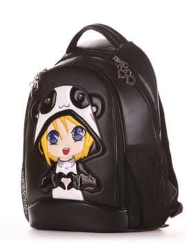 Школьный рюкзак, модель 191702 черный. Изображение товара, вид сбоку.
