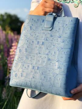 Женский рюкзак с вышивкой, модель 191722 голубая волна. Изображение товара, вид спереди.