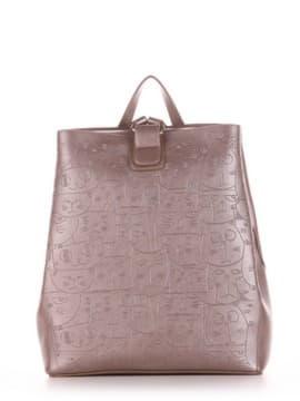 Школьный рюкзак с вышивкой, модель 191723 бронза. Изображение товара, вид сбоку.
