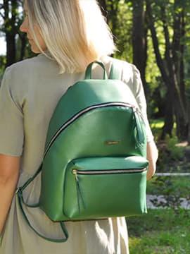 Шкільний рюкзак, модель 191736 зелений-перламутр. Зображення товару, вид спереду.