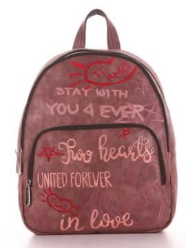 Школьный рюкзак с вышивкой, модель 191743 бордо. Изображение товара, вид спереди.