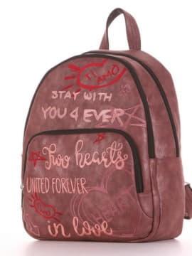 Школьный рюкзак с вышивкой, модель 191743 бордо. Изображение товара, вид сбоку.