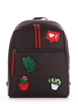 Школьный рюкзак с вышивкой, модель 191771 черный. Изображение товара, вид сбоку.