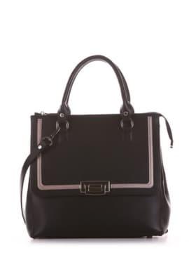 Стильная сумка, модель 191522 черный. Изображение товара, вид спереди.