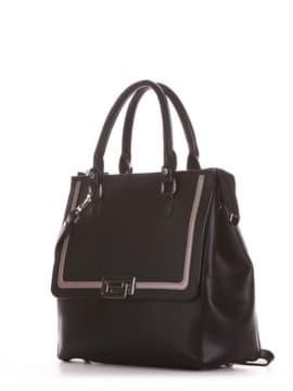 Стильная сумка, модель 191522 черный. Изображение товара, вид сбоку.