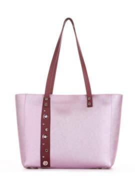 Стильная сумка, модель 191682 розовый-перламутр. Изображение товара, вид спереди.